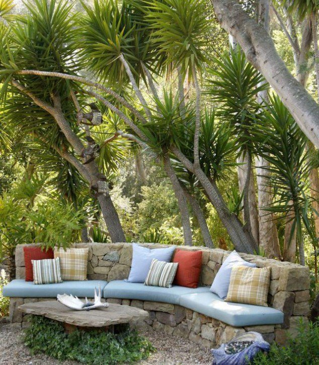 Backyard Stone Seating Area