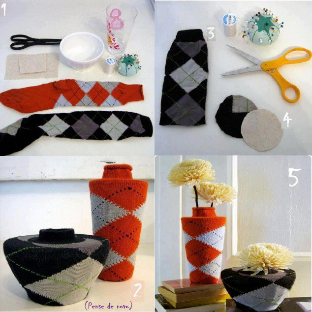Quick Sock Vase. 33 Creative Home DIY Ideas   Real Estate Celebrity News Blog