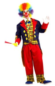 Classic clown costume, complete with rainbow wig, gloves, horn, and oversize shoes.