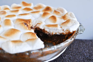 A piping hot S'mores Pie, positively oozing with gooey deliciousness