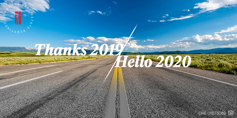 An open road and clear blue skies with the words Thanks 2019, Hello 2020 superimposed
