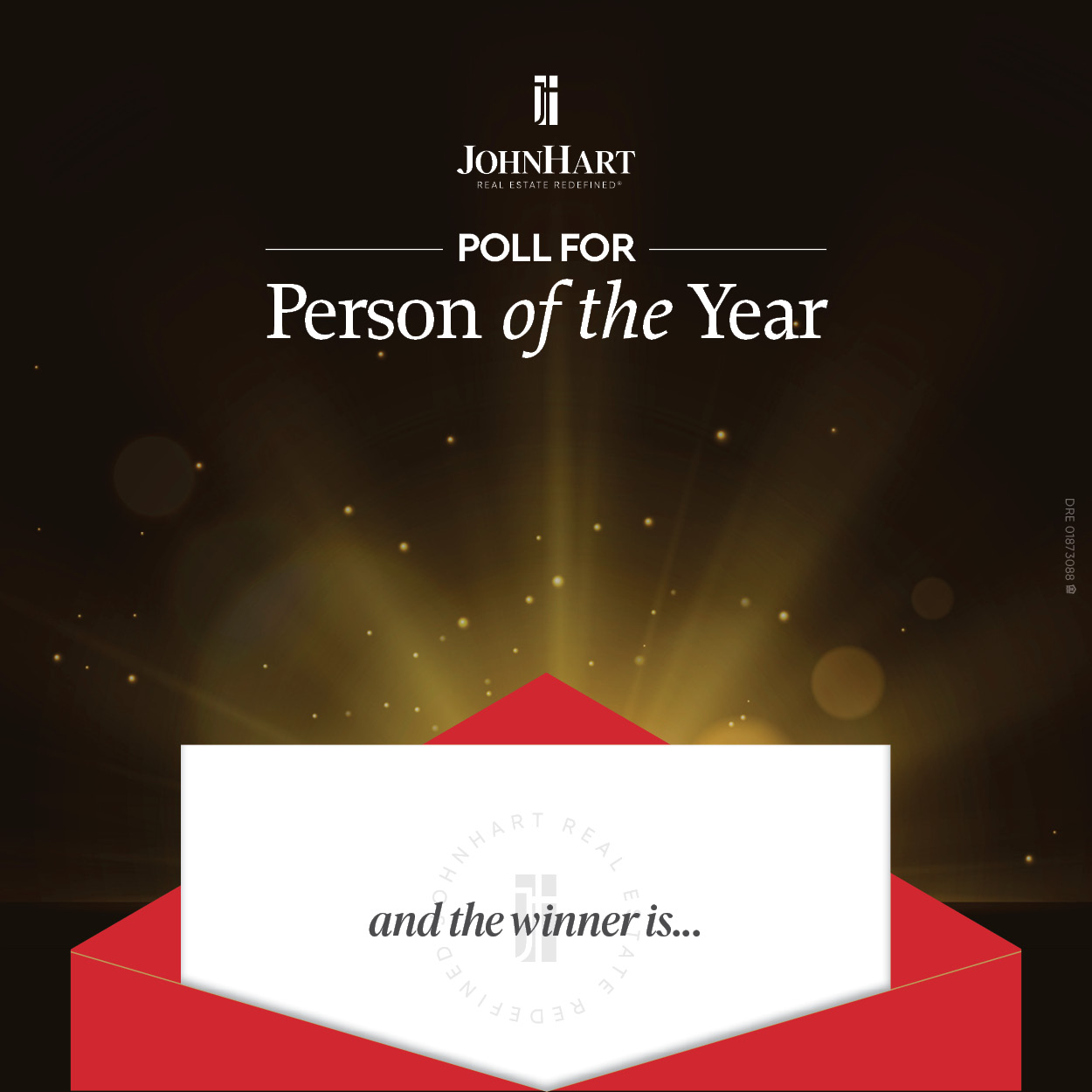 """An envelope with a piece of paper peeking out that reads """"and the winner is..."""""""