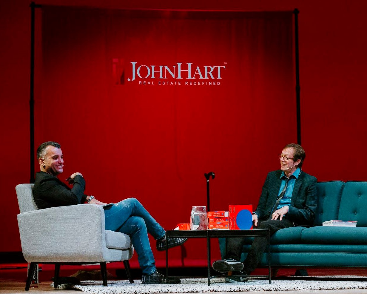 New York Times bestselling author Robert Greene talking with JohnHart CEO Harout Keuroghlian