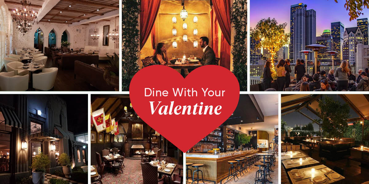 A photo collage of restaurants in Los Angeles that are perfect for Valentine's Day