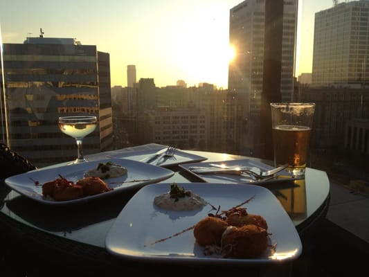 A view from the rooftop dining experience of Perch LA