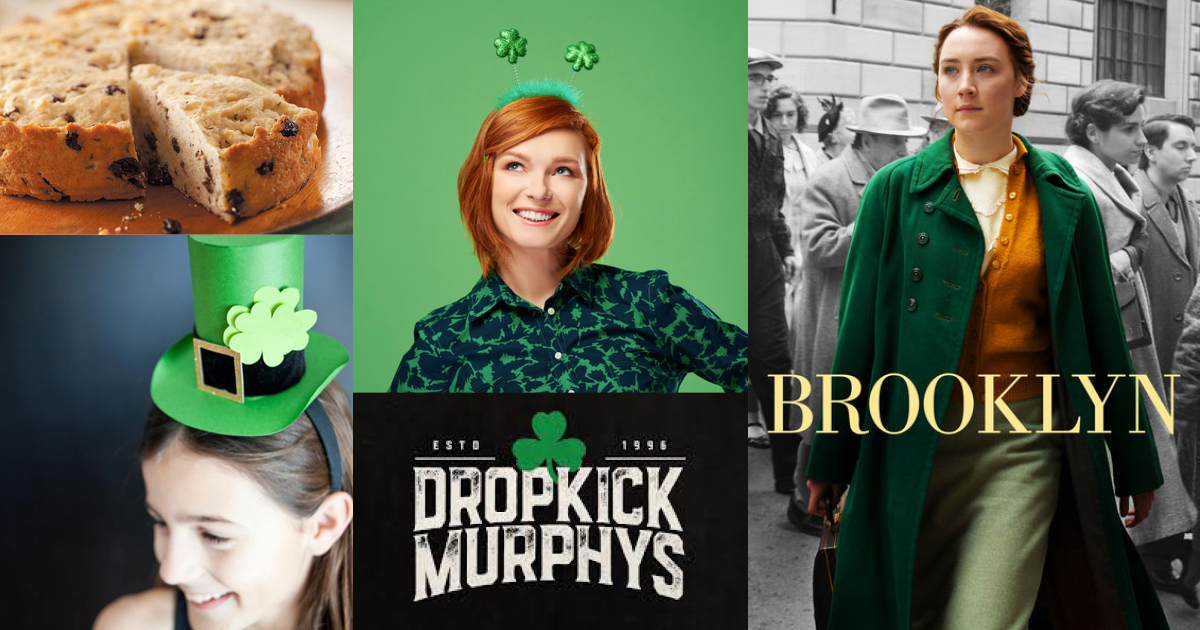 Irish Soda Bread, St. Patty's Day crafts, and Saoirse Ronan in the movie Brooklyn, in an image collage