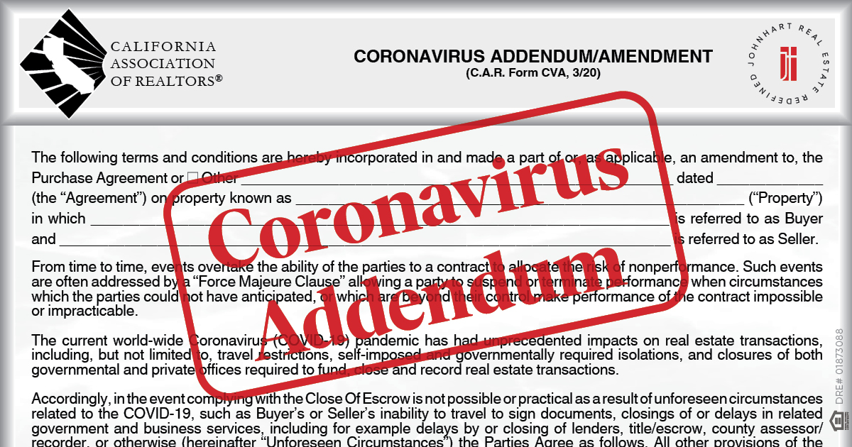 "CVA with red stamp overlayed reading ""Coronavirus Addendum"""