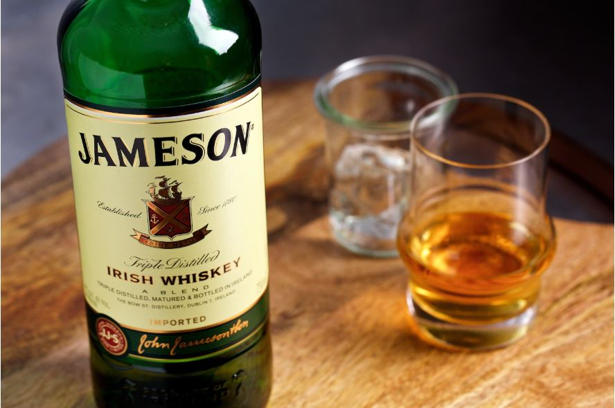Jameson whiskey poured into a glass