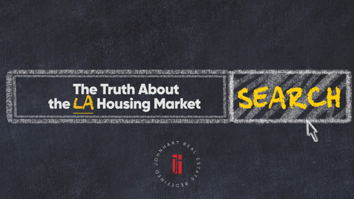 """Google search bar on chalkboard background, white font reads, """"The Truth About The LA Housing Market"""". Search button. JohnHart red logo."""