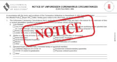 "Notice of Unforseen Coronavirus Circumstances with a red ""NOTICE"" stamp overlayed."
