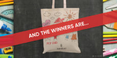 """Black chalkboard background, burlap tote bag decorated in crayon with a red banner overlay with white writing reads """"AND THE WINNERS ARE..."""""""