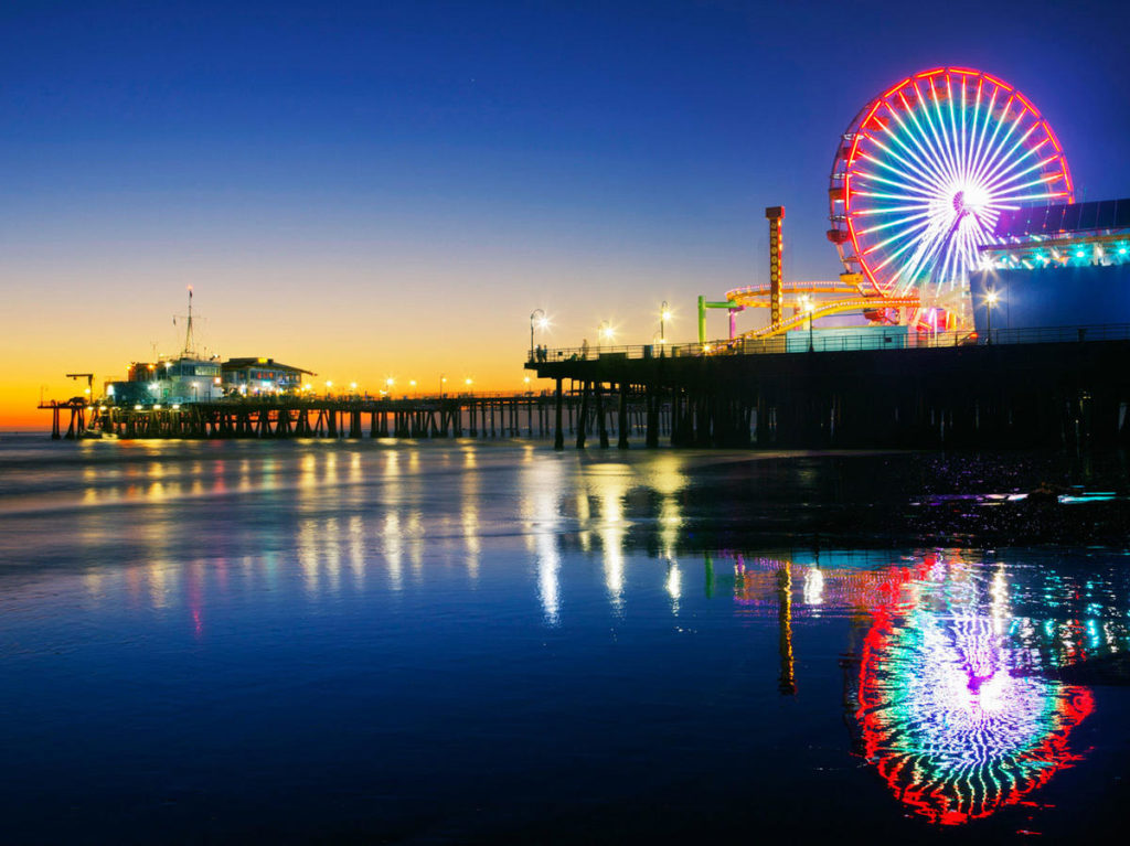 The beautiful Santa Monica pier in the twilight hours