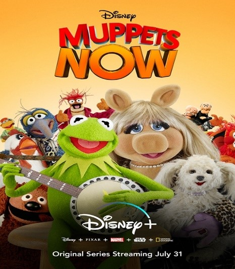 multiple muppets standing with each other kermit holding a banjo miss piggy holding a white dog with an orange background titled disney muppets now original series streaming july 31