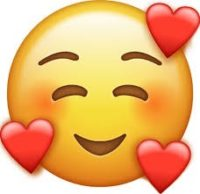 round yellow happy face with eyebrows and eyes closed with smile without teeth and rosy cheeks and 3 red hearts on it emoji