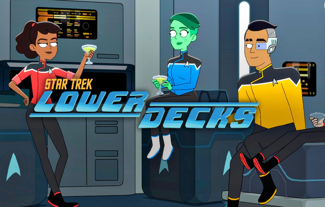 3 animated star trek characters one cyborg one green lady and one black human girl gathered around in their star ship both ladies holding margaritas all are smiling