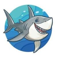 cartoon happy great white shark swimming with a circle blue ocean water background