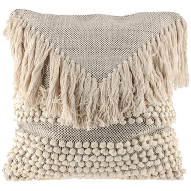 grey and beige fringe hippie throw pillow