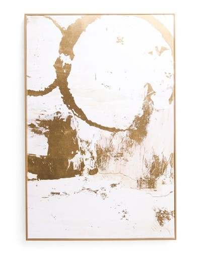 gold framed gold abstract painting with lots of negative white space