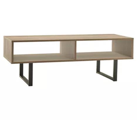 gray entertainment desk with black metal legs