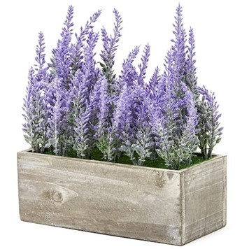 gray wooden planter box with artificial purple lavender flowers