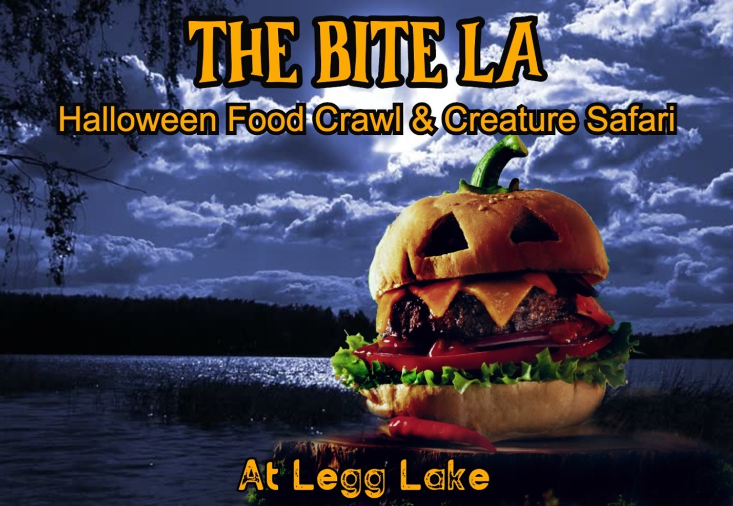 lake and dark background with forest clouds moon and trees with a spooky halloween hamburger and orange text