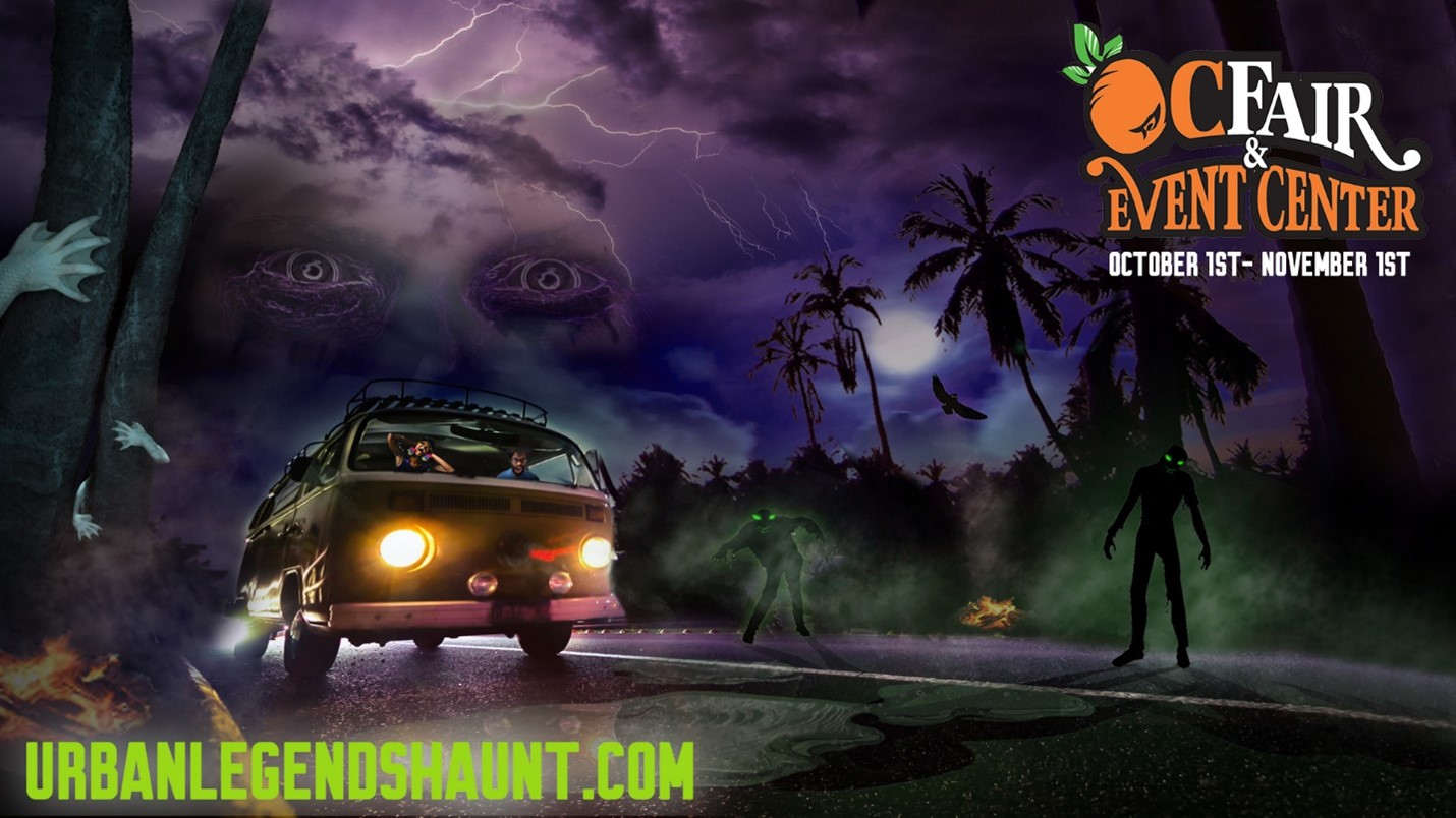haunted background in purple and black with a yellow bus at night with travelers zombies creatures lightning creepy eyes and trees