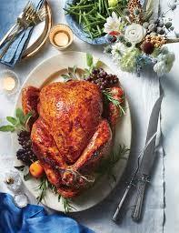 whole roasted turkey on white plate on table