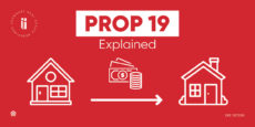 California's Proposition 19 explained. Red backgroudn with two white homes, cartoon-style.
