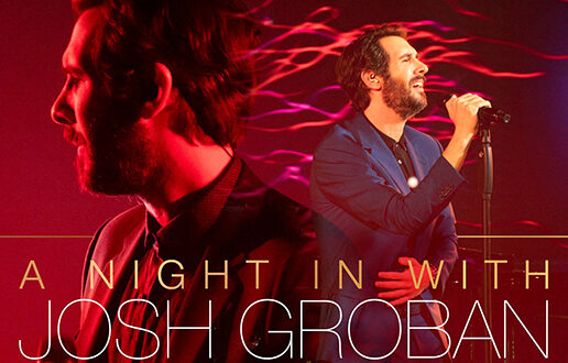 Promotional graphic for Josh Groban's Valentine's Day Concert 2021, February 14th. A Night In With Josh Groban pink graphic. Josh Groban singing on a microphone overlayed with text.