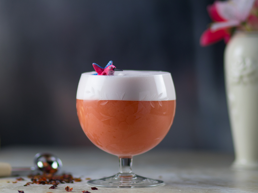 Love Bird Valentine's Day cocktail. A orange-pink cocktail in a stout glass with white foam and garnished with a pink and blue bird on top. Rosehip grinds surrounding the glass on the table.