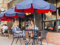Two women dining outside in California