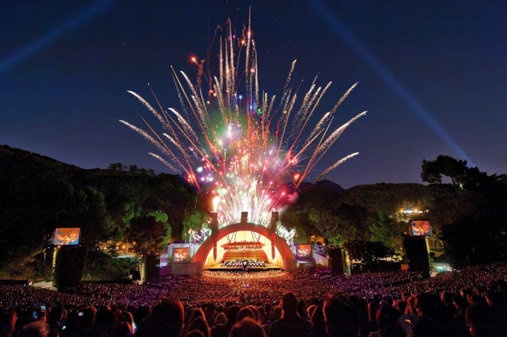 Fireworks above the Hollywood Bowl stage
