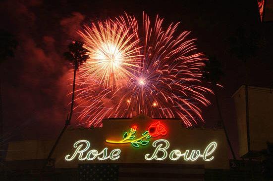 Fireworks above the Rose Bowl