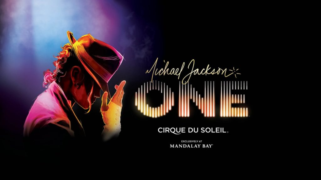 """Black graphic reading """"Michael Jackson ONE Cirque Du Soleil Presented by Mandalay Bay"""" with shades of purple, pink, and yellow. Las Vegas tickets available in August 2021."""