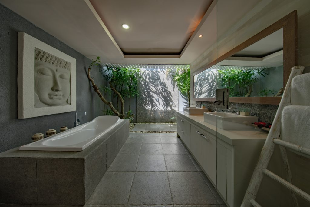a bathroom with japanese inspired elements