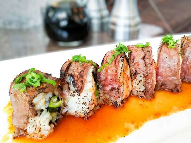sushi topped with steak at mitch's in palm springs