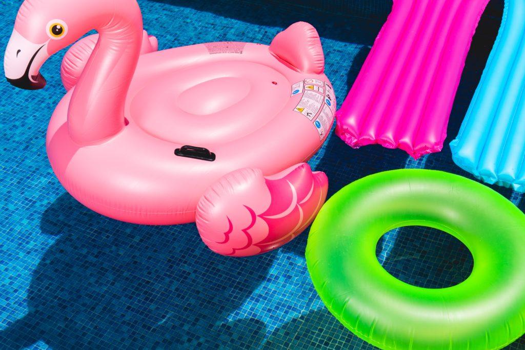 Inflatable pool floaties in a pool