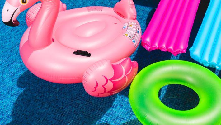 Pool floaties in a pool
