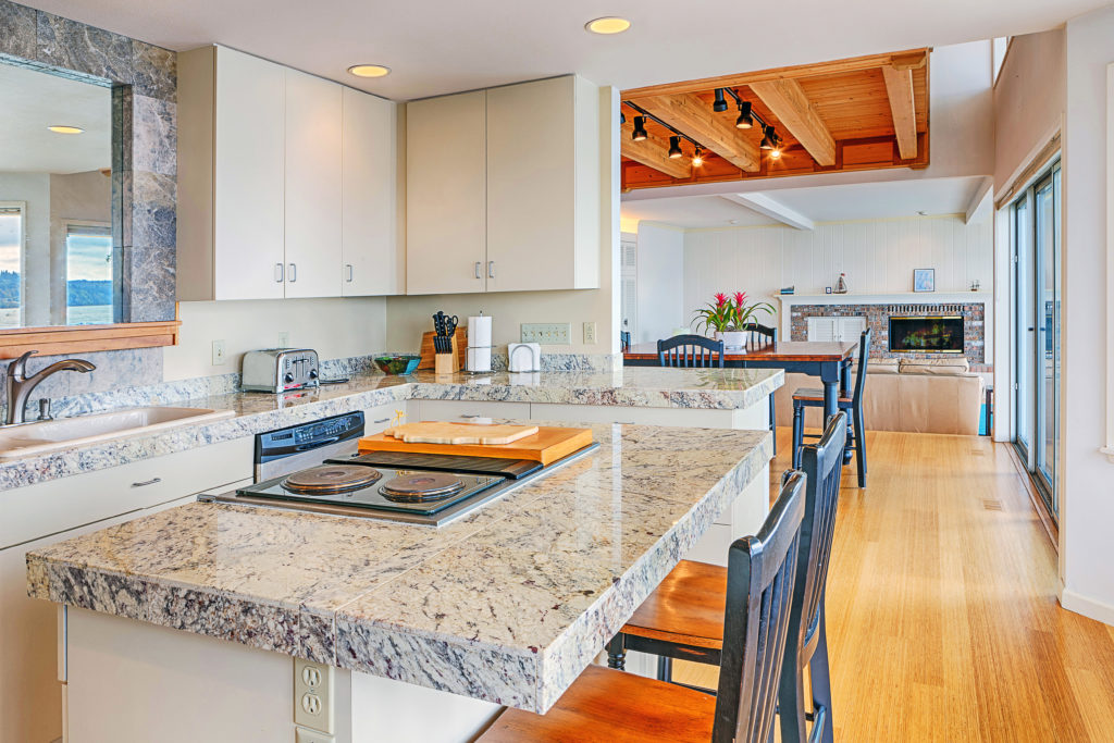 Countertops in a modern renovated kitchen
